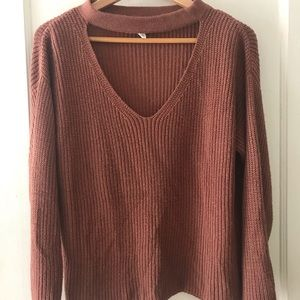 Lost + Wander Washed Out Mauve Cut Out Sweater